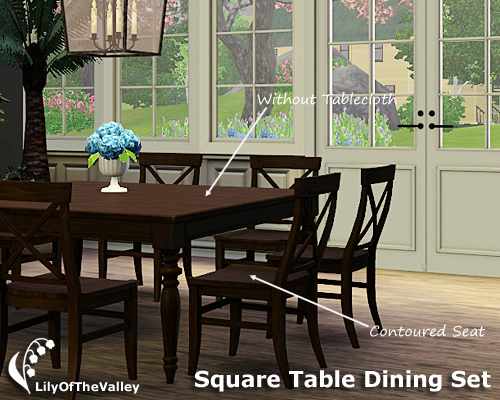 Development Version LilyOfTheValleys Square Table Dining Set